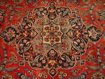 10'9'' X 13'6'' Persian Kashan Medallion Semi-Antique Red Rectangle Wool Rug