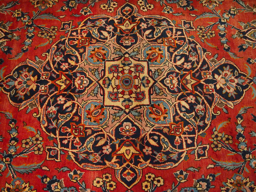 10'9'' X 13'6'' Persian Kashan Medallion Semi-Antique Red Rectangle Wool Rug - Direct Rug Import | Rugs in Chicago, Indiana,South Bend,Granger