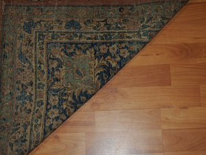 9'8'' X 13'4'' Persian Kerman Medallion Traditional Hand-knotted Tan,Peach Rectangle Wool Rug
