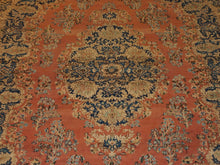Load image into Gallery viewer, 9'8'' X 13'4'' Persian Kerman Medallion Traditional Hand-knotted Tan,Peach Rectangle Wool Rug - Direct Rug Import | Rugs in Chicago, Indiana,South Bend,Granger