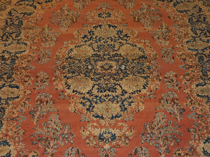 9'8'' X 13'4'' Persian Kerman Medallion Traditional Hand-knotted Tan,Peach Rectangle Wool Rug - Direct Rug Import | Rugs in Chicago, Indiana,South Bend,Granger