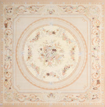"Load image into Gallery viewer, 8'4""x8'1"" AubussonTan Wool Hand-Knotted Rug"
