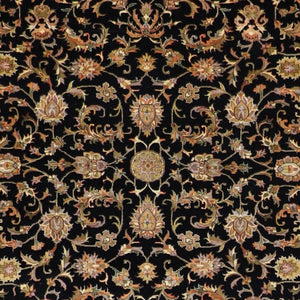 "5'5""x7'6"" Traditional Black Wool & Silk Hand-Knotted Rug - Direct Rug Import 