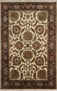 "6'x9'3"" Traditional Ivory Kashan Wool Hand-Knotted Rug"
