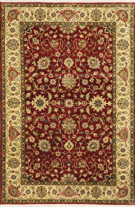 "5'11""x8'10"" Decorative Burgundy Hand Spun Wool Hand-Knotted Rug"