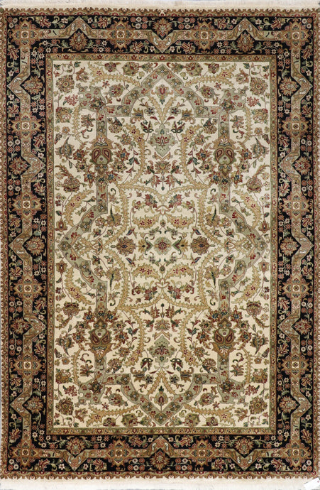 6'x9' Traditional Tan Tabriz Wool & Silk Hand-Knotted Rug