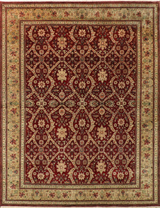 "7""7""x9' Traditional Green Wool Hand Knotted Rug - Direct Rug Import 