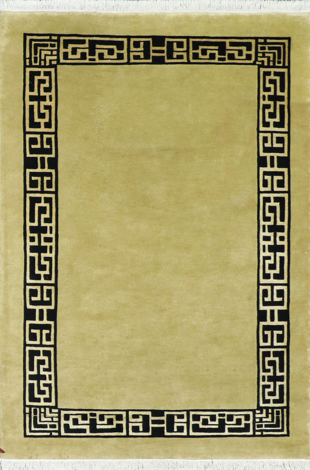 "5'7""x8' Decorative Gold Wool Hand-Knotted Rug"