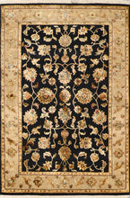 "Load image into Gallery viewer, 3'11""x5'11"" Traditional Tabriz Black Wool & Silk Hand-Knotted Rug"