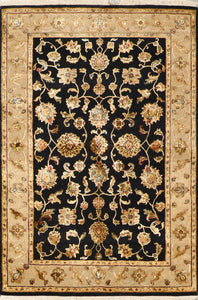 "3'11""x5'11"" Traditional Tabriz Black Wool & Silk Hand-Knotted Rug"