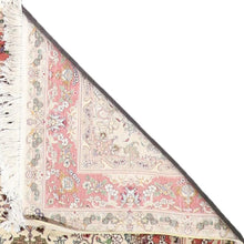 "Load image into Gallery viewer, 4'2""x6'2"" Traditional Tabriz Ivory Wool & Silk Hand-Knotted Rug"