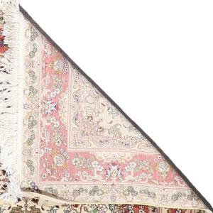 "4'2""x6'2"" Traditional Tabriz Ivory Wool & Silk Hand-Knotted Rug"