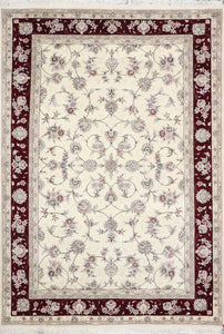6'x9' Traditional Tabriz Wool & Silk Hand-Knotted Rug