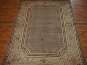 6'5'' X 9'8'' Abusson Tone-on-Tone Traditional Hand-Knotted Beige Rectangle Wool Rug - Direct Rug Import | Rugs in Chicago, Indiana,South Bend,Granger