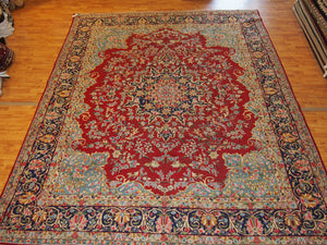 9'1'' X 12' Persian Kerman Overall Semi-Antique Red Rectangle wool Rug - Direct Rug Import | Rugs in Chicago, Indiana,South Bend,Granger
