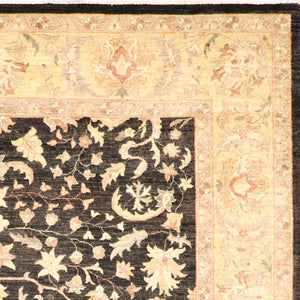 "8'x10'8"" Traditional Black Wool Hand-Knotted Rug"