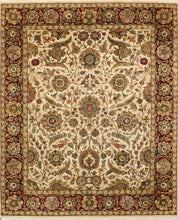 "Load image into Gallery viewer, 8'2""x10' Traditional Ivory and Red Wool Hand-Knotted Rug"