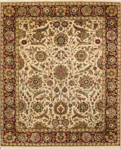 "8'2""x10' Traditional Ivory and Red Wool Hand-Knotted Rug"