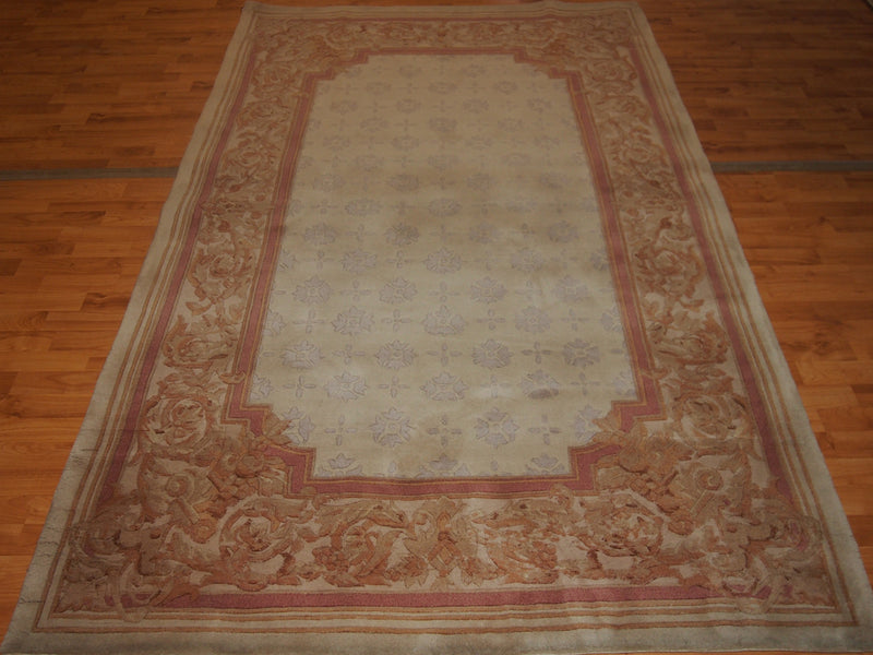 5'2'' X 8' Abusson Frame Traditional Hand-knotted Tan,Pink Rectangle Wool Rug - Direct Rug Import | Rugs in Chicago, Indiana,South Bend,Granger