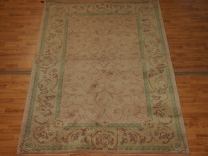 5' X 7'11'' Abusson Curvilinear Traditional Hand-knotted Silver Sage,Tan Rectangle Wool Rug - Direct Rug Import | Rugs in Chicago, Indiana,South Bend,Granger