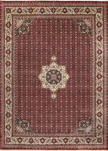 "8'1""x11'3"" Traditional Red Wool Hand-Knotted Rug - Direct Rug Import 