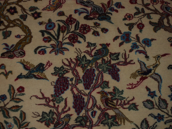 4'3'' X 6'6'' Isfashan Tree of Life Floral Traditional Hand-knotted Brown Rectangle Wool & Silk Rug