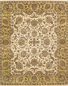 "8'x10'1"" Traditional Kashan Ivory Wool Hand-Knotted Rug"