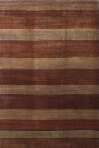 6'x9' Contemporary Brown Wool Hand-Knotted Rug