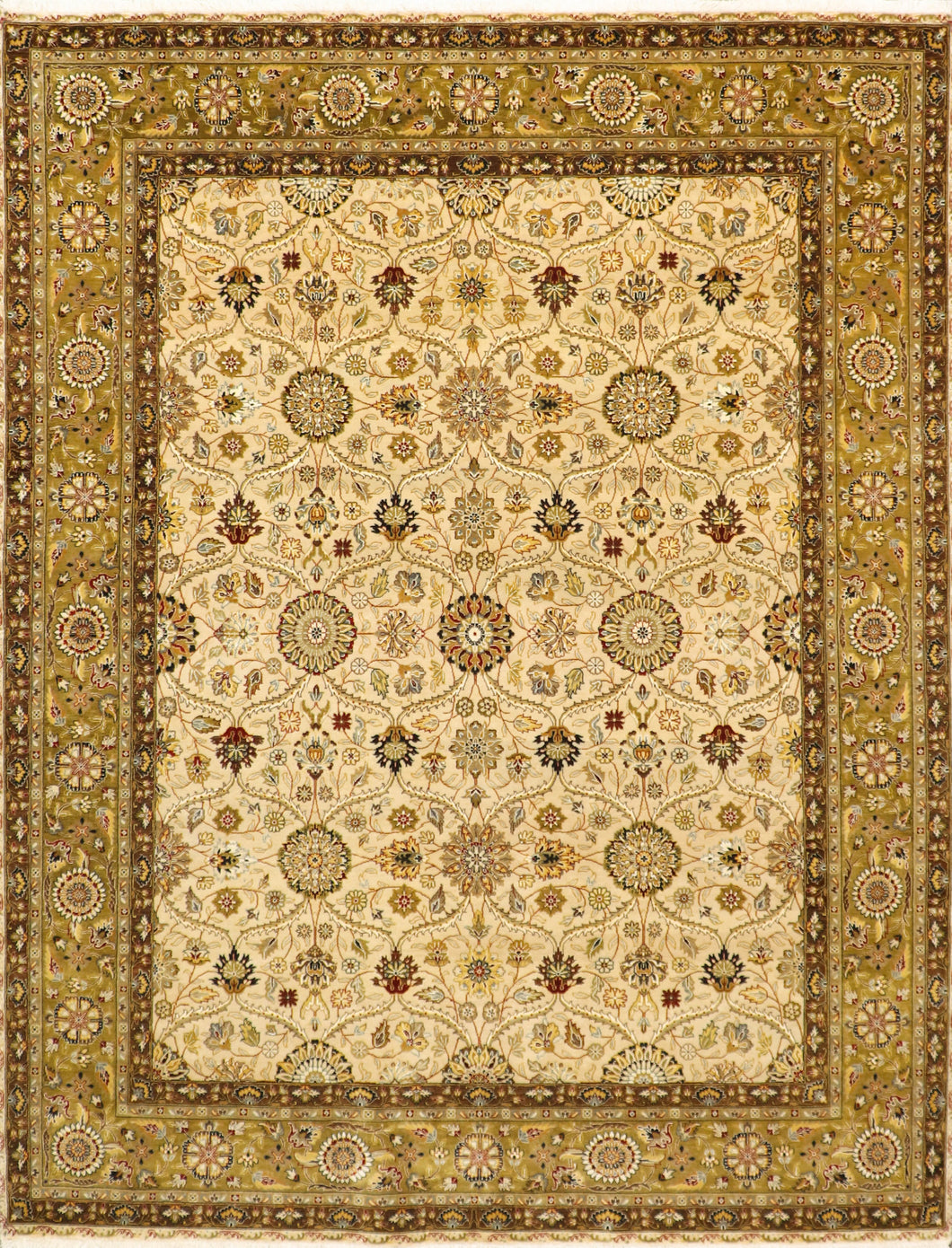 "7'9""x10'2"" Traditional Tan Wool & Silk Hand-Knotted Rug"