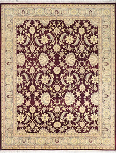 "7'10""x10' Traditional Burgundy Wool Hand-Knotted Rug"