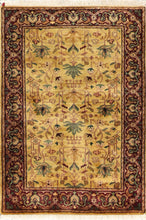 "Load image into Gallery viewer, 4'1""x6' Decorative Gold Wool Hand-Knotted Rug"