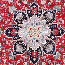 "Load image into Gallery viewer, 4'11""x6'8"" Traditional Red Tabriz Wool & Silk Hand-Knotted Rug"