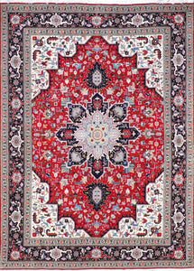 "4'11""x6'8"" Traditional Red Tabriz Wool & Silk Hand-Knotted Rug"