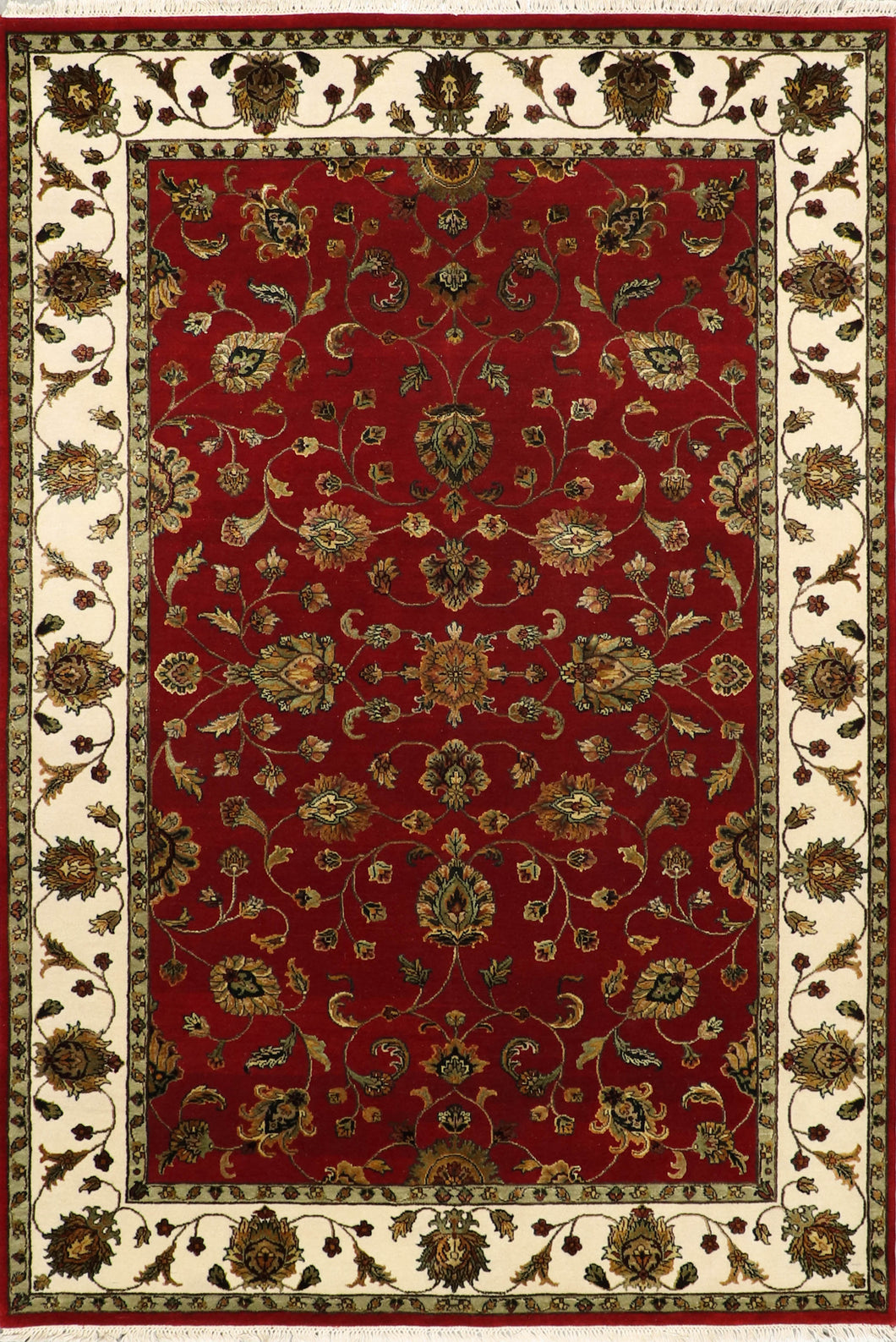 "5'11""x9' Traditional Tabriz Red Fine Quality of Wool & Silk Hand-Knotted Rug"