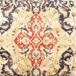 "61""x9'2"" Decorative Blue Tabriz Wool Hand-Knotted Rug"