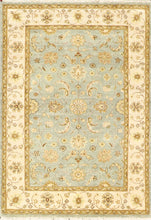 "Load image into Gallery viewer, 4'2""x3'11"" Decorative Teal Wool Hand-Knotted Rug"