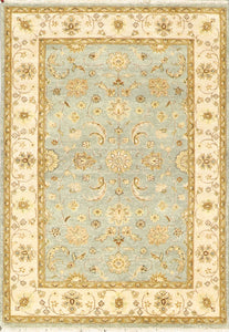 "4'2""x3'11"" Decorative Teal Wool Hand-Knotted Rug"
