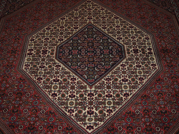 6'8'' X 9'9'' Persian Bijar Medallion Semi-Antique Rust Rectangle Wool Rug