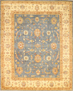 "8'2""x10'4"" Decorative Blue Wool Hand-Knotted Rug"