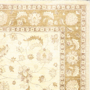 "6'8""x8'1"" Traditional Ivory Peshawar Wool Hand-Knotted Rug"