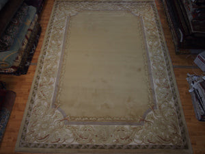 8' X 11' Abusson Frame Traditional Hand-Knotted Ivory,Lanvender Rectangle Wool Rug - Direct Rug Import | Rugs in Chicago, Indiana,South Bend,Granger