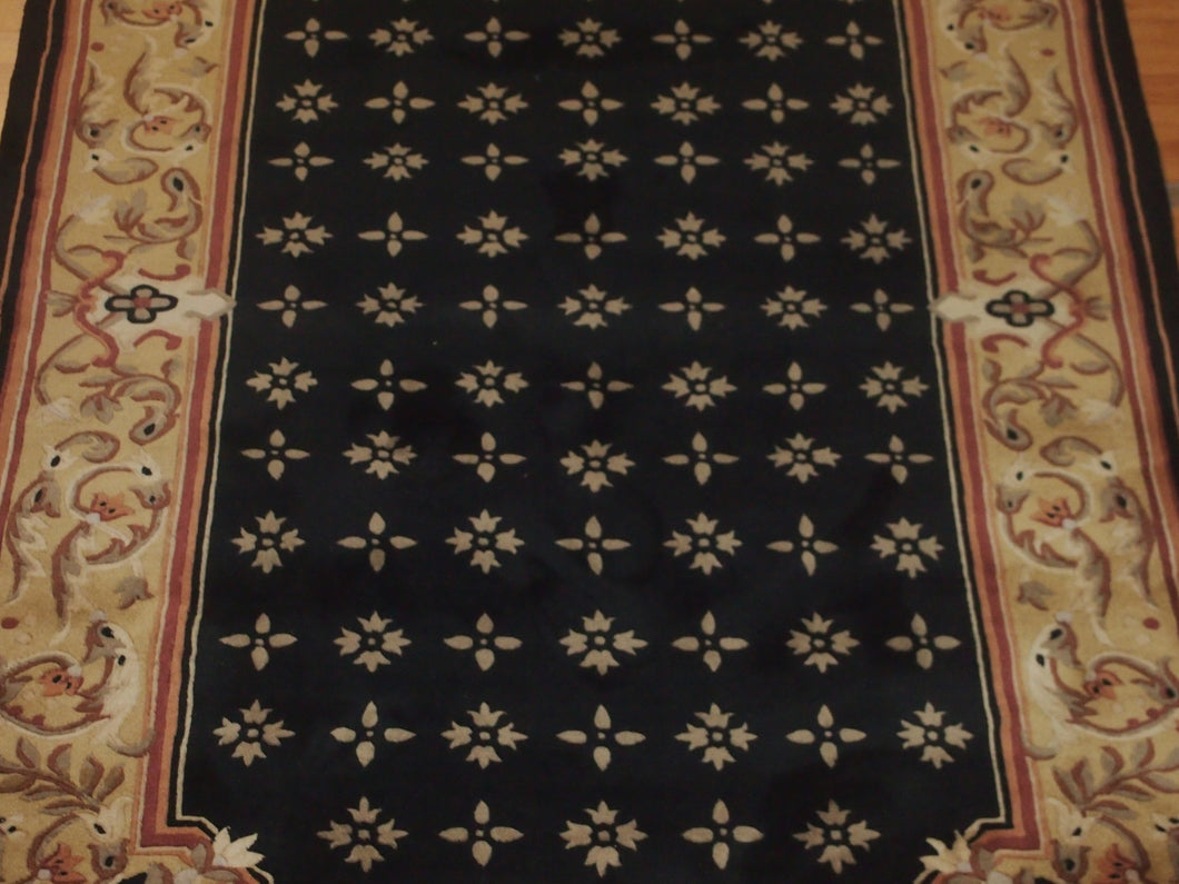 5'1'' X 8' Abusson Frame Traditional Hand-knotted Gold,Pink Rectangle Wool Rug - Direct Rug Import | Rugs in Chicago, Indiana,South Bend,Granger