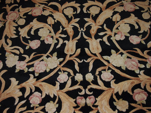 9'2'' X 12' Abusson Roses Floral Traditional Hand-Knotted Gold,Coral Rectangle Wool Rug - Direct Rug Import | Rugs in Chicago, Indiana,South Bend,Granger