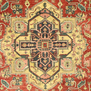 "6'1""x8'10"" Traditional Red Serapi Wool Hand-Knotted Rug"