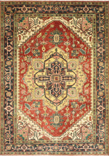 "Load image into Gallery viewer, 6'1""x8'10"" Traditional Red Serapi Wool Hand-Knotted Rug"