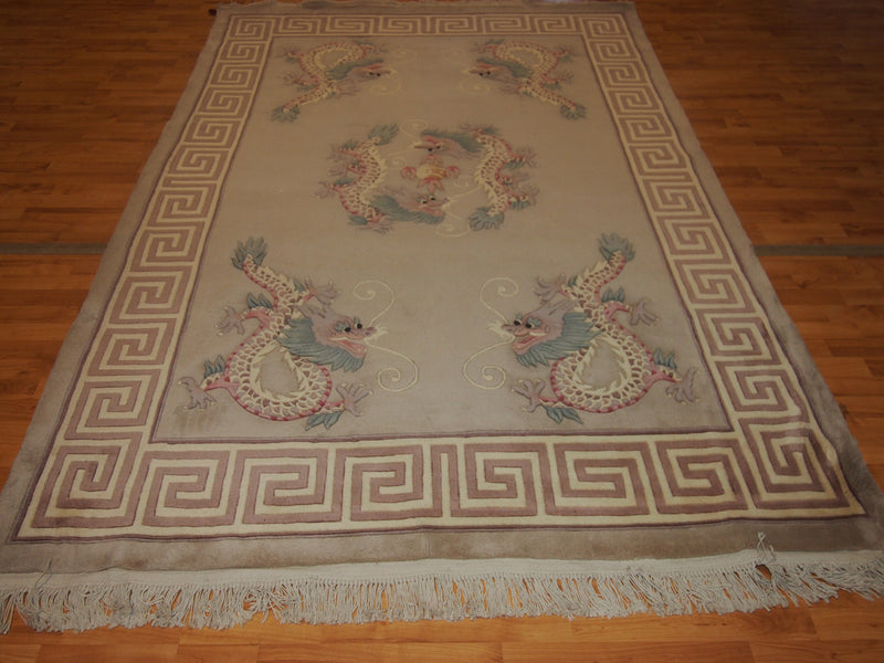 6' X 9' Abusson Dragon Frame Traditional Hand-knotted Ivory,Pink,Green Rectangle Wool Rug