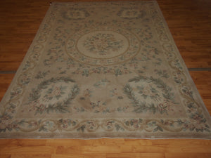 6' X 9' Abusson Tone-on-Tone Traditional Hand-knotted Ivory,Beige Rectangle Wool Rug - Direct Rug Import | Rugs in Chicago, Indiana,South Bend,Granger