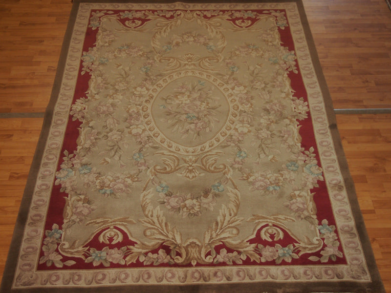 5'1.1'' X 9' Abusson Medallion Traditional Hand-knotted Tan Rectangle Wool Rug - Direct Rug Import | Rugs in Chicago, Indiana,South Bend,Granger
