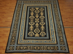 5'7'' X 8'7'' Abusson Vase Frame traditional Hand-knotted Gold,Blue Rectangle wool Rug - Direct Rug Import | Rugs in Chicago, Indiana,South Bend,Granger