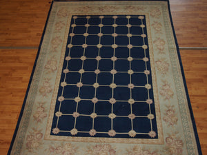 6'5'' X 9'11'' Abusson Frame Traditional Hand-Knotted Cream,Peach Rectangle Wool Rug - Direct Rug Import | Rugs in Chicago, Indiana,South Bend,Granger